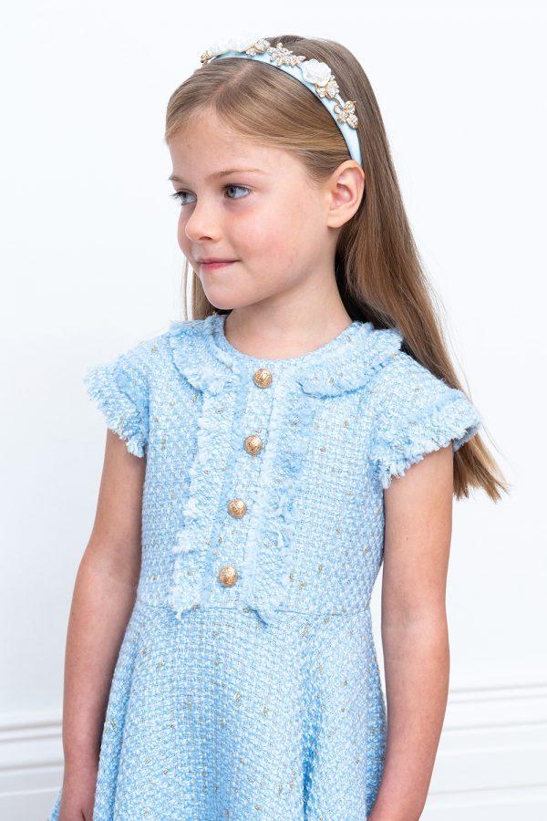 powder blue tweed dress