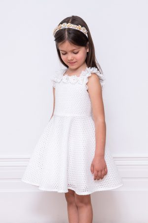 ivory techno mesh skater dress