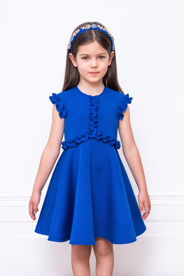 royal blue ruffle techno gown