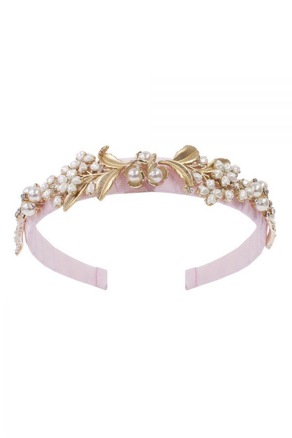 ballet pink pearl hair band