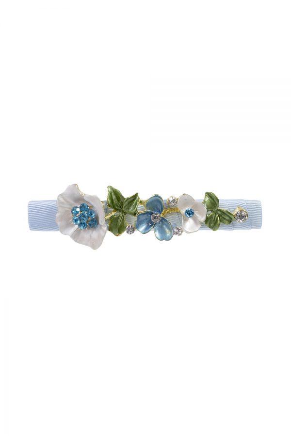 blue floral hair clip