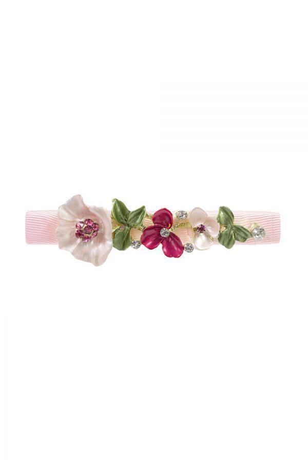 petal pink floral hair clip.
