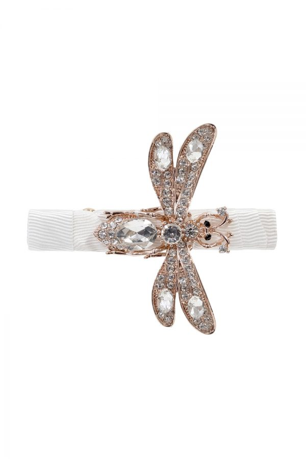 ivory sparkle dragonfly hair clip