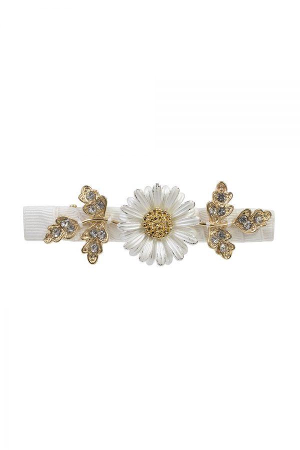ivory daisy hair clip