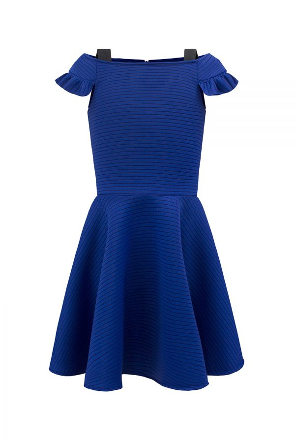 royal blue techno prom dress