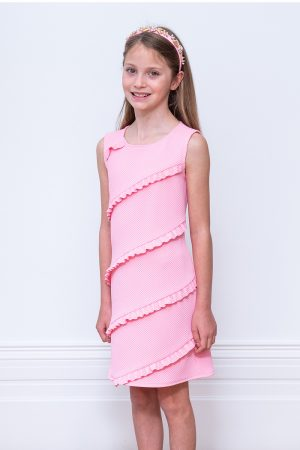 pink diagonal ruffle shift dress