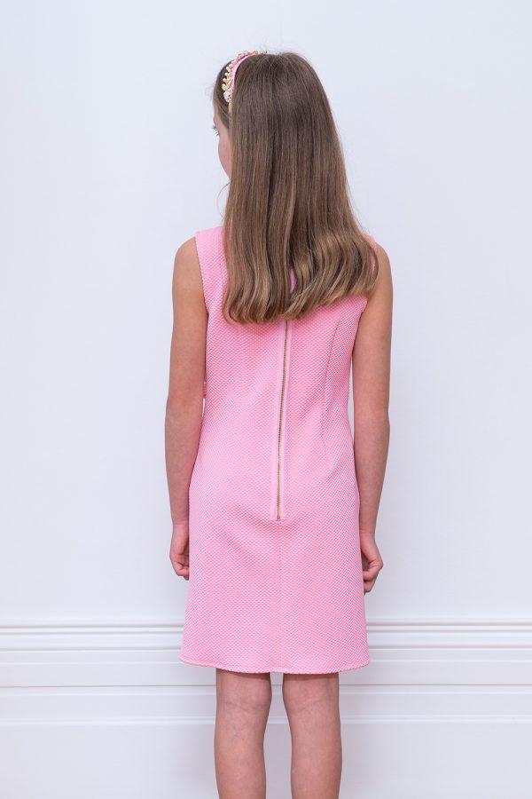 pink diagonal ruffle shift dress