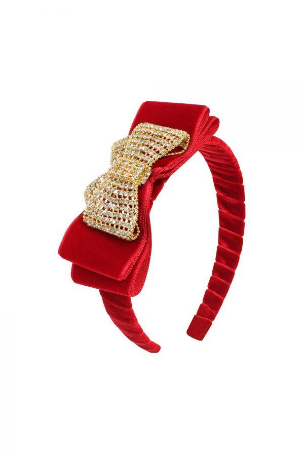 wild red velvet hair band
