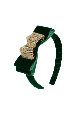 green velvet bow hair band