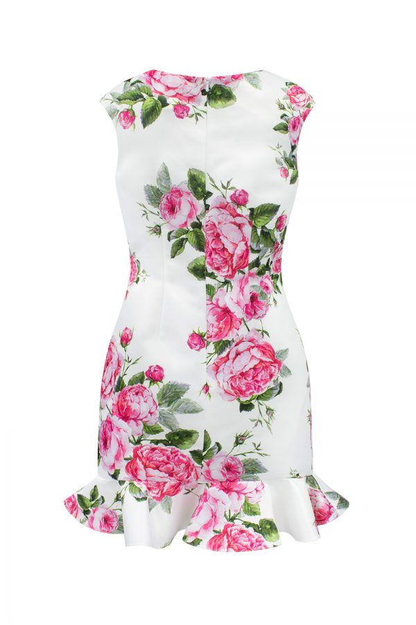 straight flower print party dress