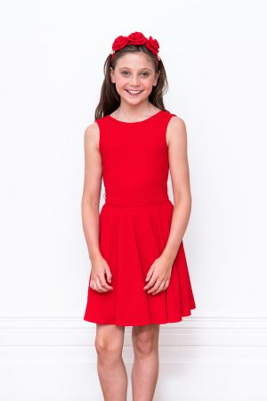 red stretch keyhole back dress