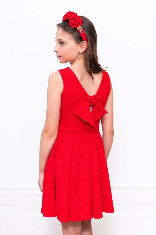 red stretch keyhole back dress