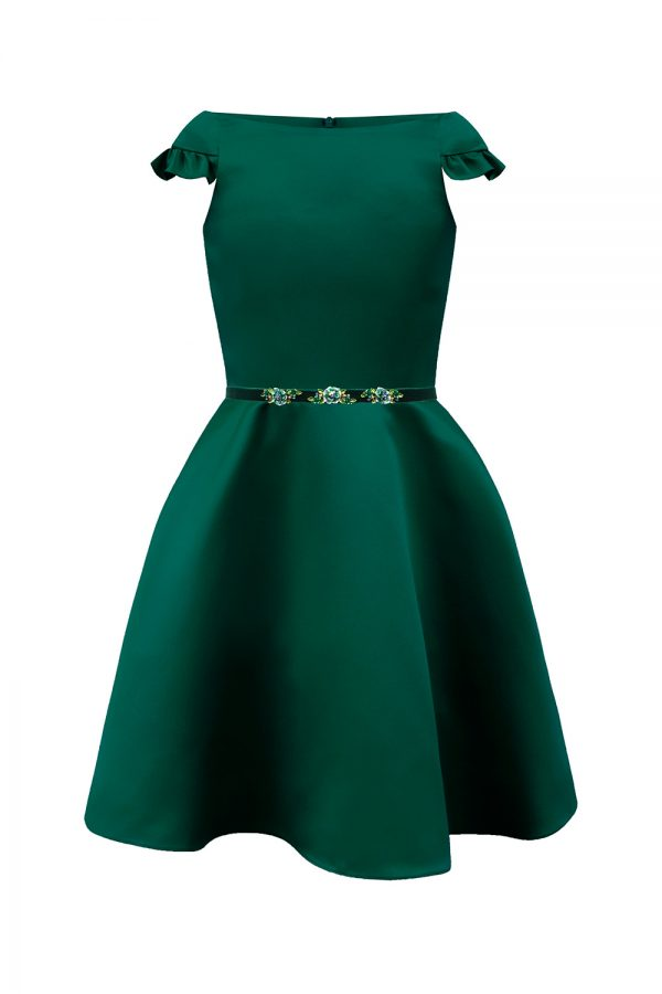 green Formal satin gown