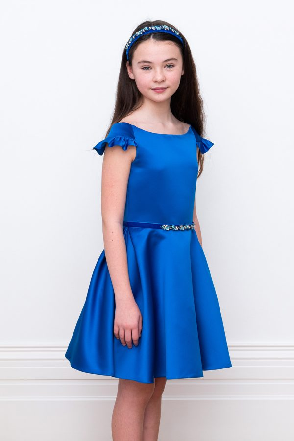 regal royal blue party gown