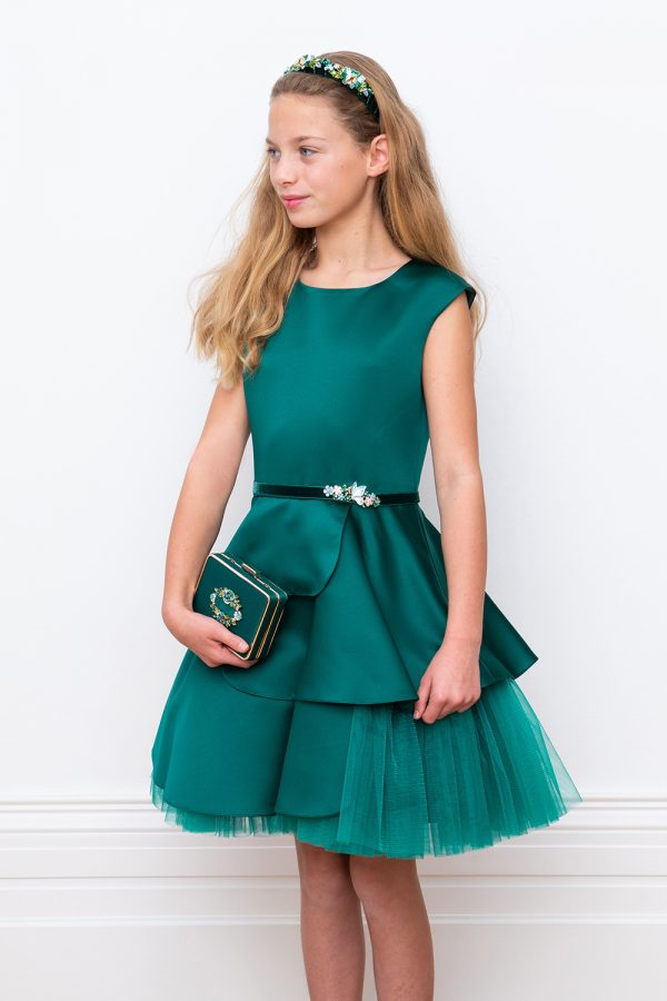 green satin and tulle gown