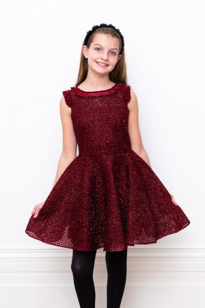 burgundy sparkle Evening dress