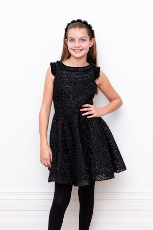 black sparkle techno mesh dress