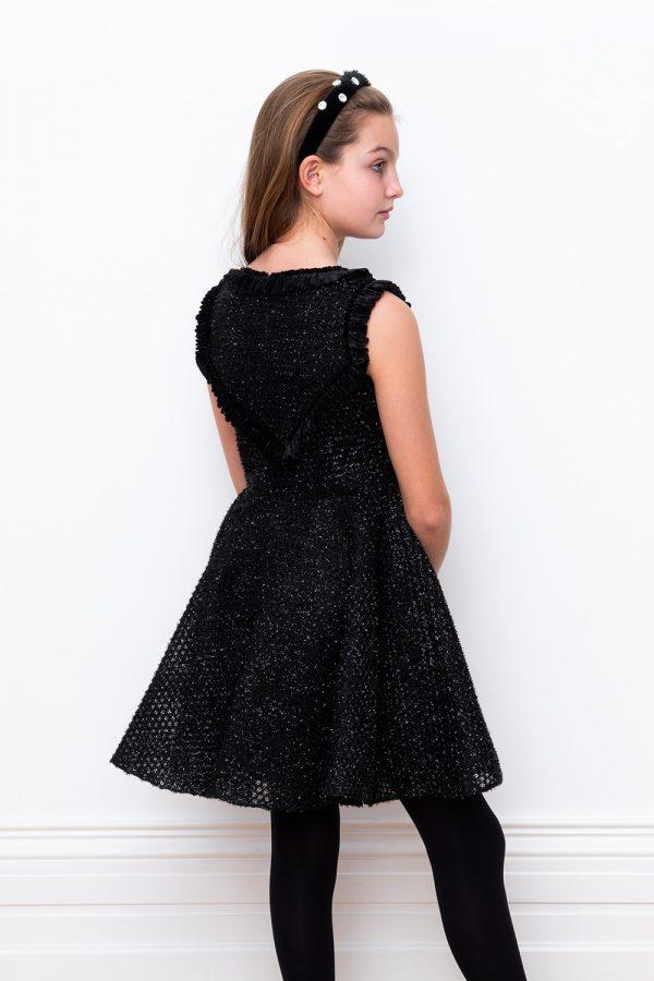 black sparkle techno mesh dress