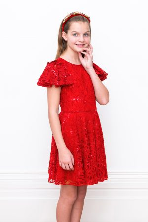 red prom ruffle sleeve dress