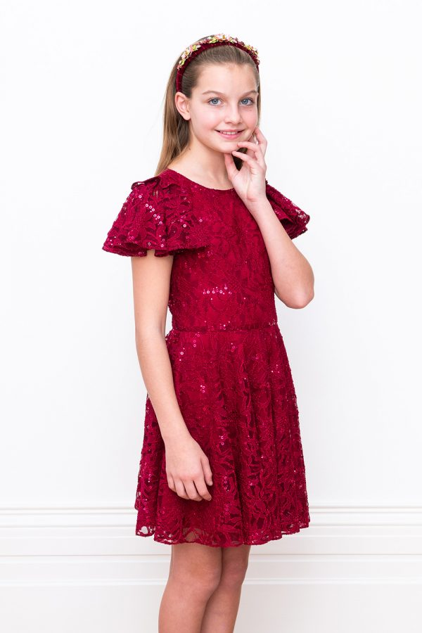 wine lace show stopping dress