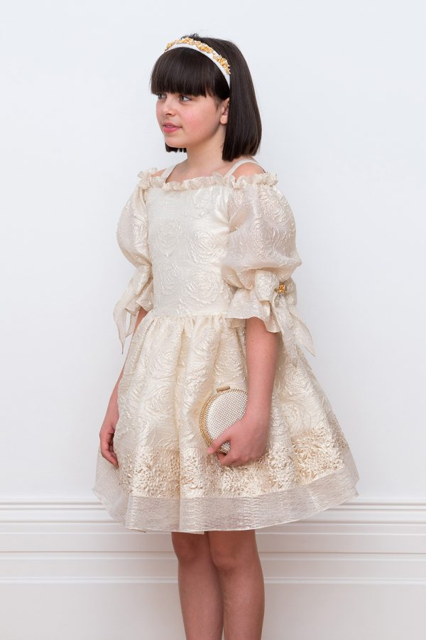 ivory and gold prom dress