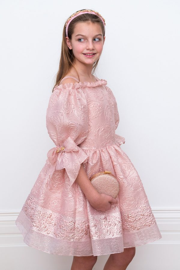 pink and gold princess ballgown