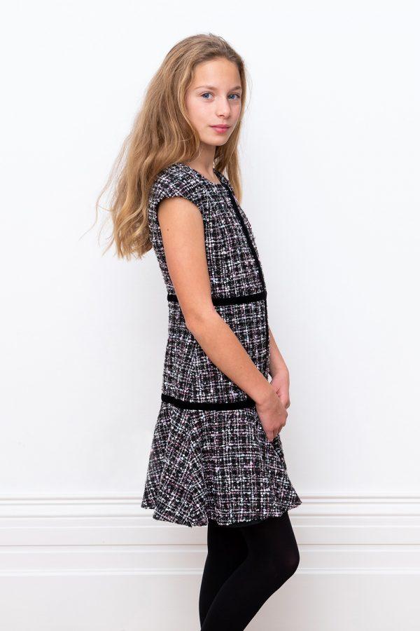 black tweed bridesmaid dress
