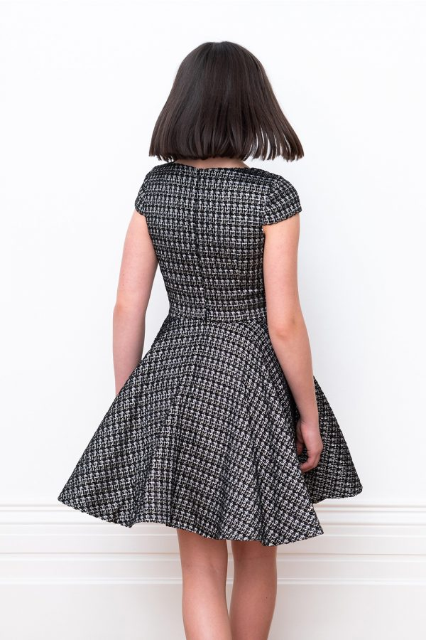black flower girl tweed dress