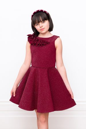 wine techno fit and flared dress