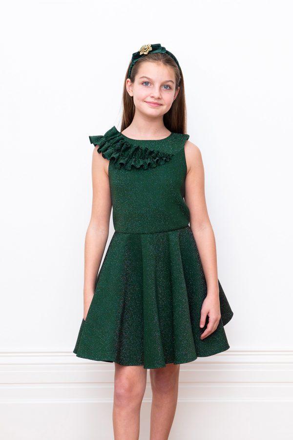 green ruffle party dress