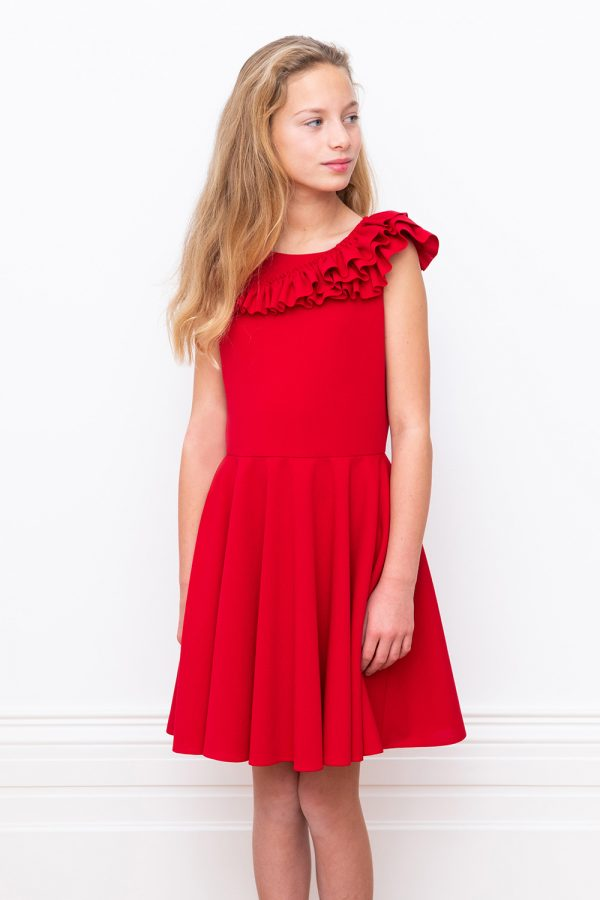 red ruffled crepe Party dress