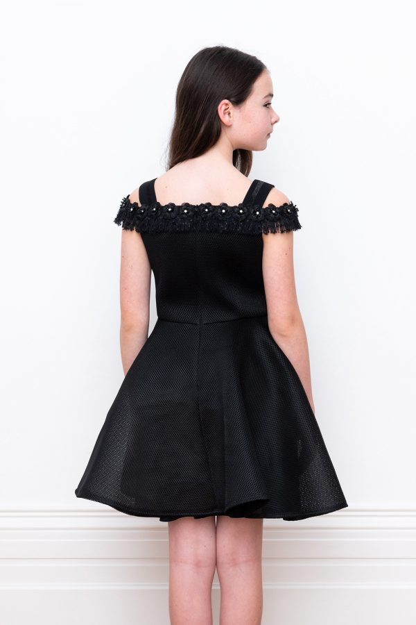 black off shoulder techno party gown