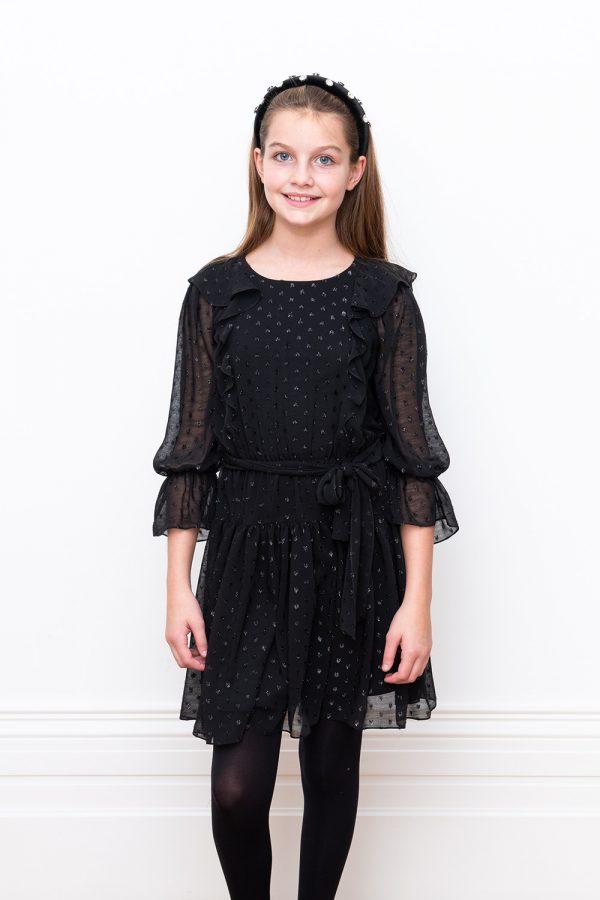black self spot chiffon dress
