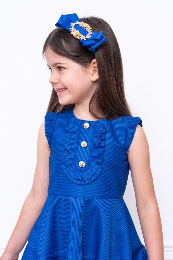 royal ribbed techno dress