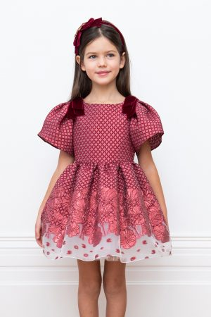 Wine Waffle Brocade Ball Gown