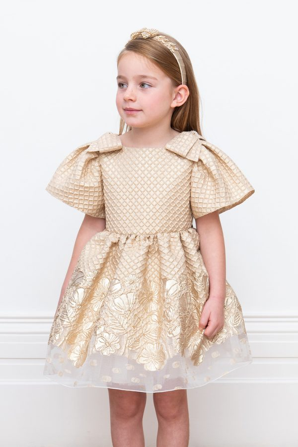 gold waffle brocade party dress