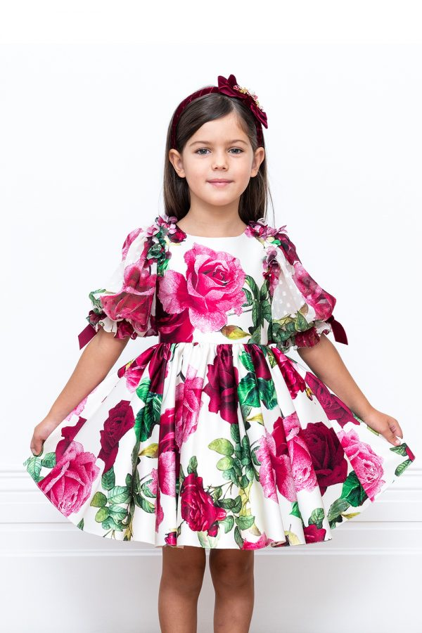 flower sateen party dress