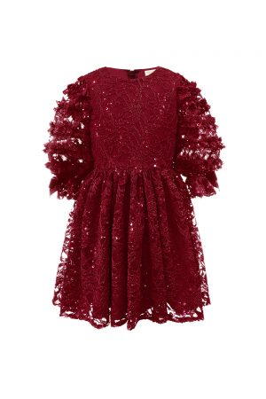 wine lace ruffle sleeved dress