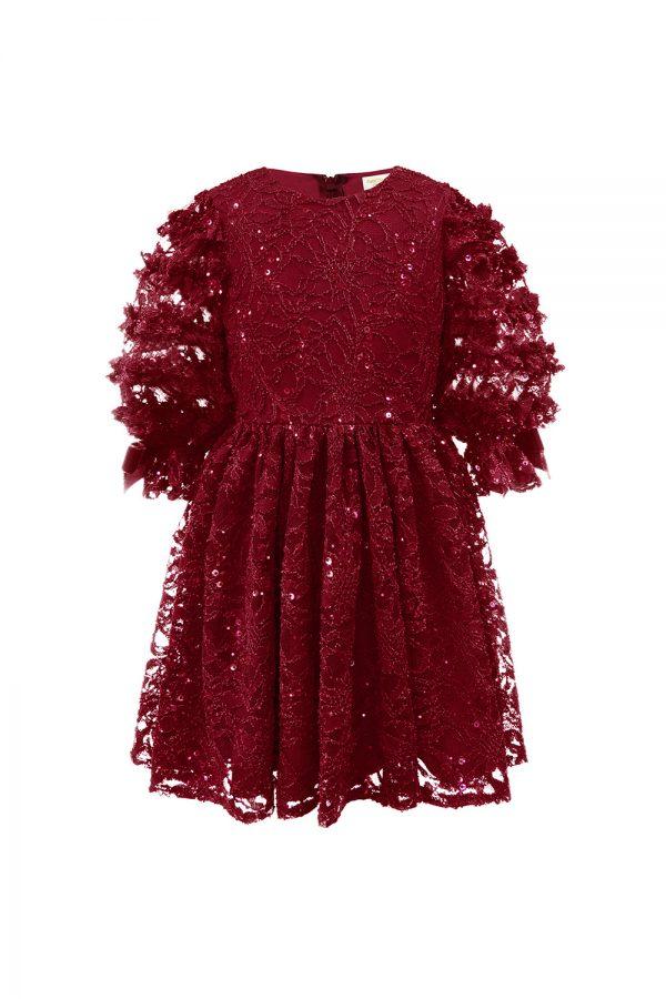 wine lace ruffle sleeved dress