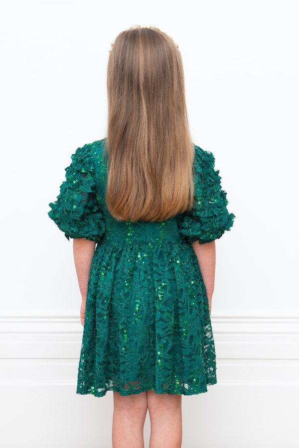 green lace special occasion dress