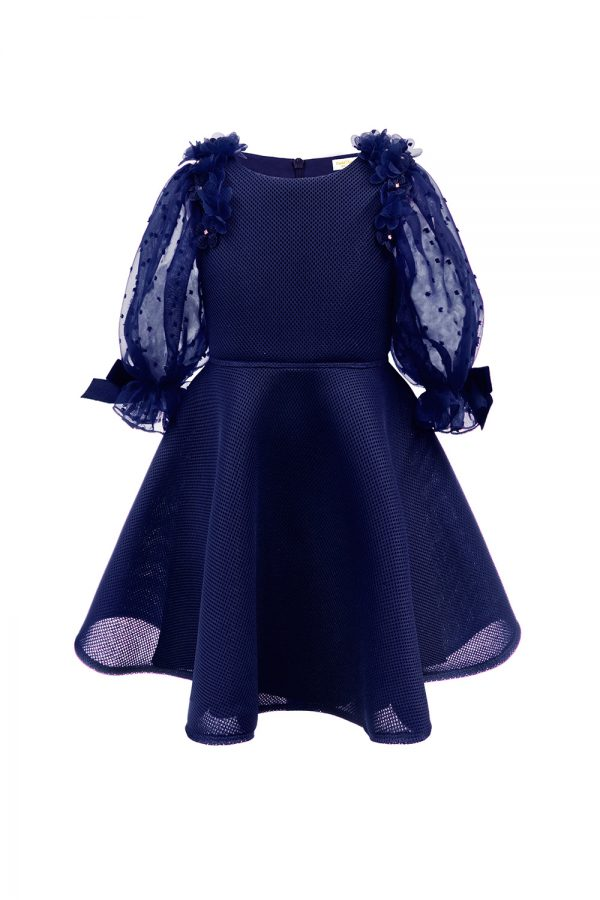 light navy techno tea dress