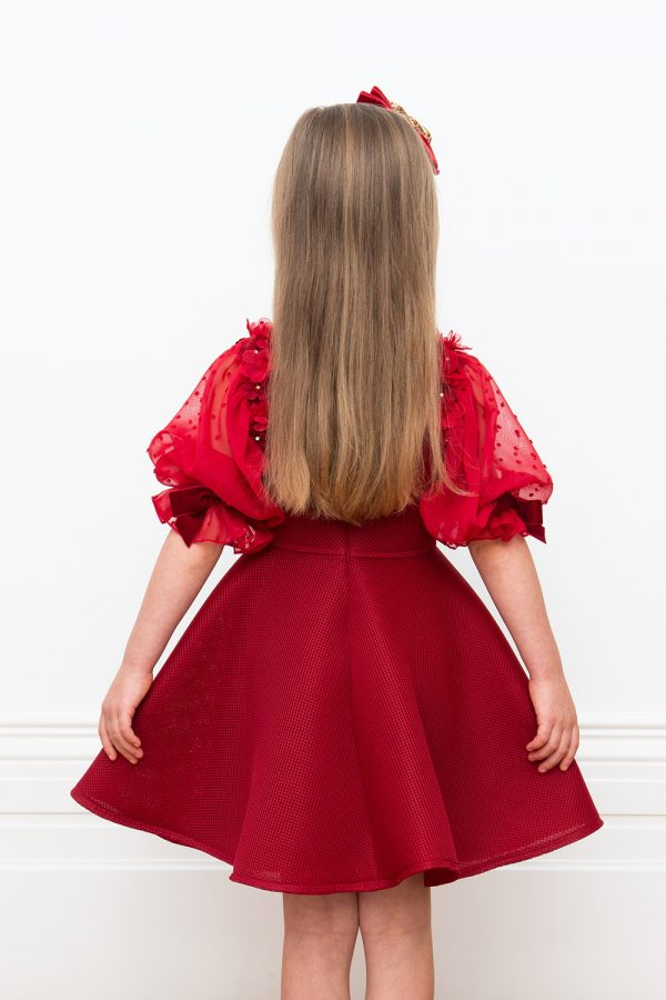 wine chiffon tea dress