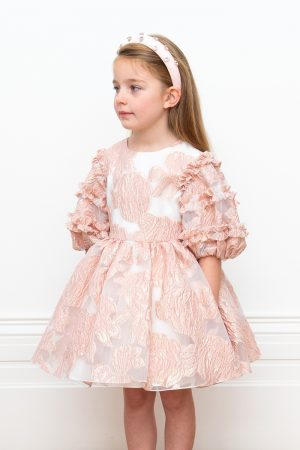 pink embossed organza ball gown