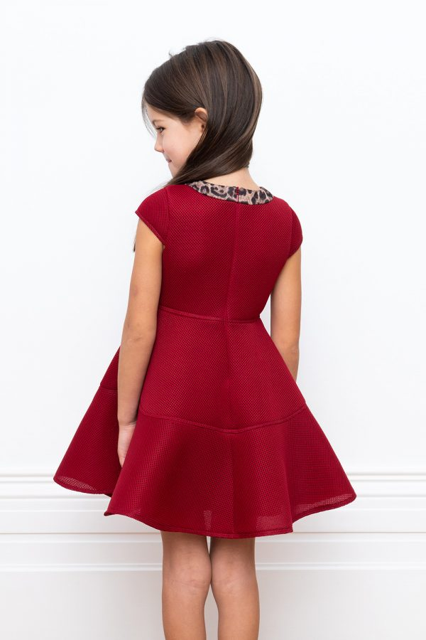 luxury claret techno dress