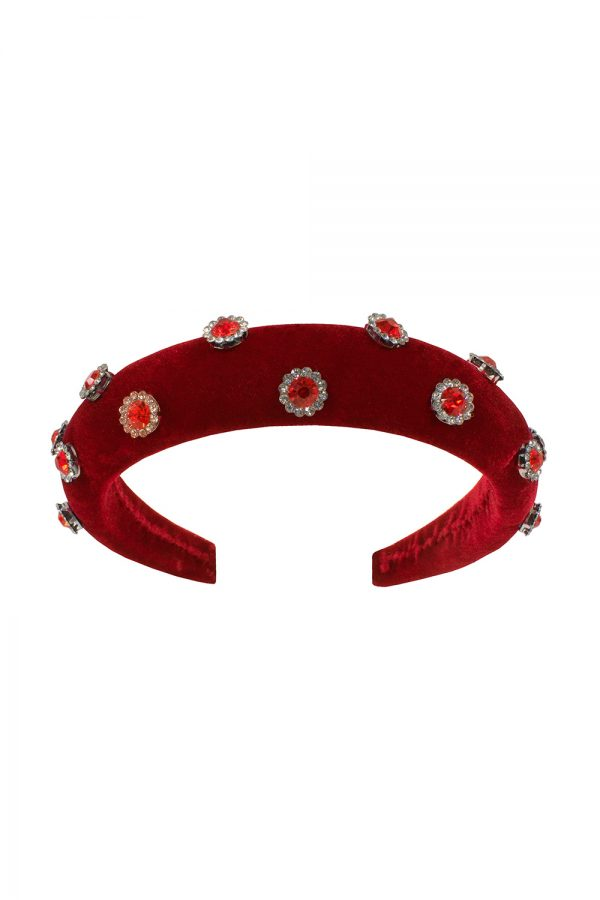 red velvet jewelled hair band