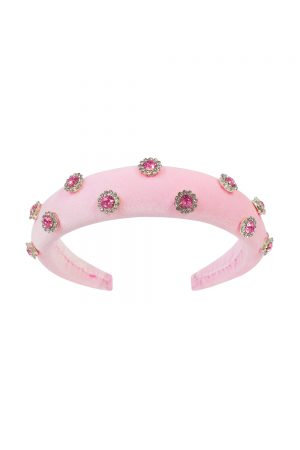 pink floral gemstone Alice band
