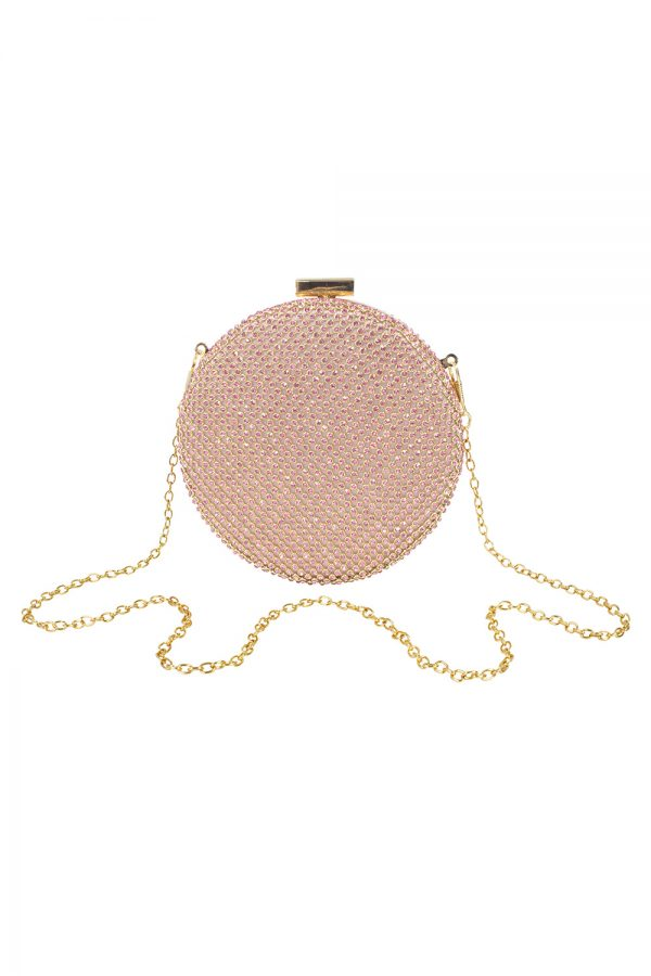 pink diamond circle clutch bag