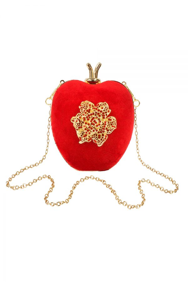 red heart shaped clutch bag