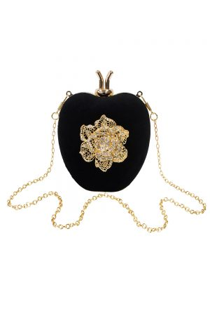 heart shaped black clutch bag