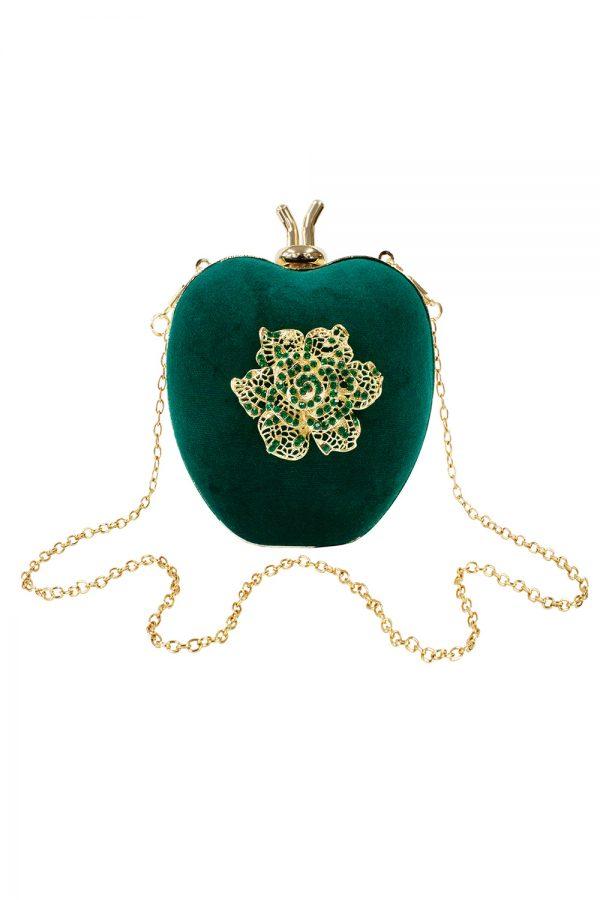 emerald green heart clutch bag